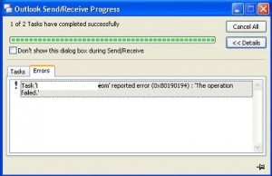 Outlook Send/Receive Error 0x80190194